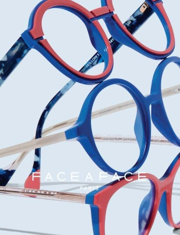 Eye Candy Opticians Face a Face Blue Pink and Black Glasses